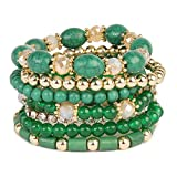 MYS Collection RIAH FASHION Multi Strand Bead Layering Statement Bracelets - Colorful Beaded Strand Stretch Bangles (Green)