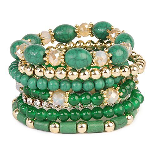 Bangle Bracelet Stretch Beaded (MYS Collection RIAH Fashion Multi Strand Bead Layering Statement Bracelets - Colorful Beaded Strand Stretch Bangles (Green))