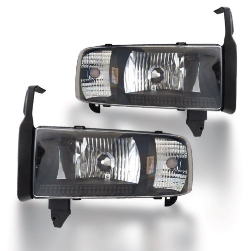 Winjet WJ10-0292-04 Headlights for 1994-2002 Dodge Ram 1500 2500 3500 - Black/Clear