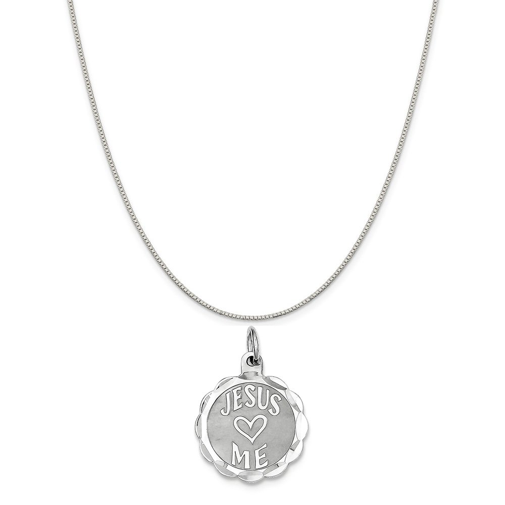 Mireval Sterling Silver Jesus Loves Me Disc Charm on a Sterling Silver Chain Necklace 16-20