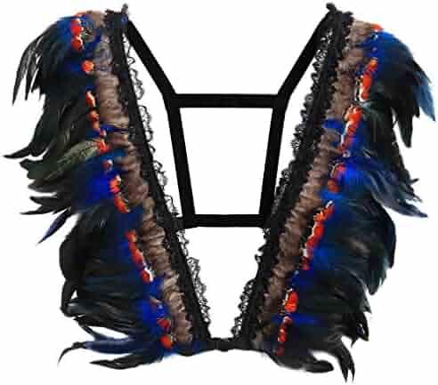2f9f99427b394 Feather Body Harness Bra Strappy Elastic Adjustable Tops Bra Gothic Plus  Size