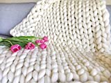Chunky Knitted Blanket Queen Giant Knit throw King arm knitting blanket Merino Wool Extreme Throw 21.5 micron White natural knitted with arms Valentines Day gift for her