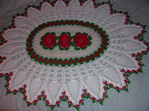 Holiday Decor, Lace Doily Centerpiece in Victorian Pineapple Design with Red Flowers, Lace Table Cover, Pineapple Doily, 22 x 26 inch Oval