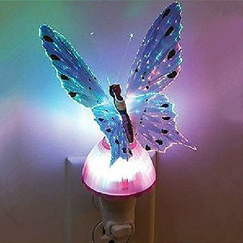 LED Night light,WONFAST Fiber Butterfly Kids Night light Plug type LED color changing night light for Bedroom, Living Room,Baby Room(Purple)