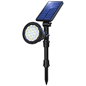 OSORD Solar Lights Outdoor, Upgraded Waterproof 18 LED 2-in-1 Solar Landscape Spotlights Wall Light Auto On/Off Solar Powered Uplight for Flag Pole Street Sign Garden Yard, 1pack (Cool White)