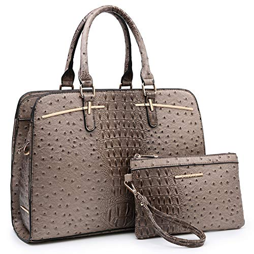 Women Handbags Satchel Purses Top Handle Work Bag Briefcases Tote Bag With Matching Wallet (4-Ostrich Khaki)