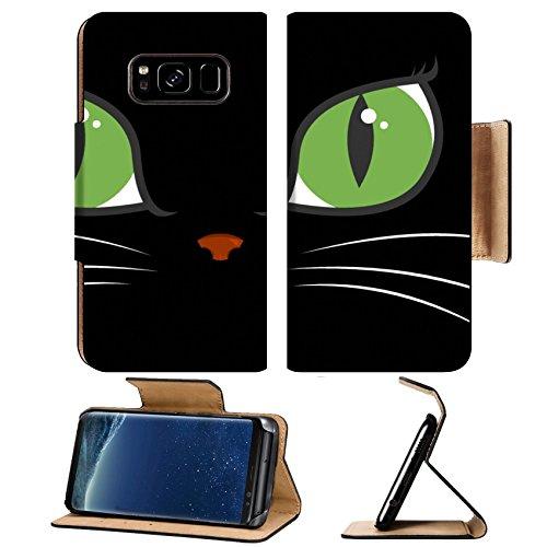 Luxlady Premium Samsung Galaxy S8 Plus S8+ Flip Pu Leather Wallet Case IMAGE ID 730880 A black cat with big green - Green Eye Cat