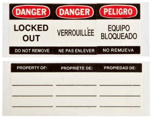 Brady 51379 B-826 Vinyl With PressureSensitive Adhesive Black/Red On White Safety Padlock Labels, Legend: SIDE 1: Danger Locked Out Do Not Remove / Side 2: Property Of:...Etc (6 Labels per Pack)