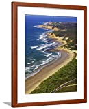 ArtEdge Ocean Road and Split Point Lighthouse, Aireys Inlet, Victoria, Australia by David, Brown Matted Wall Art Framed Print, 24x18, Soft White