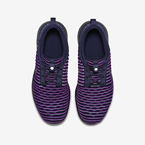 Nike Youth Roshe Two Flyknit Running Shoes-Navy Blue// Purple 844620 500