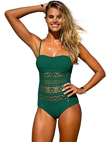 LookbookStore Women's Green Crochet Lace Halter Straps Swimsuits Bathing Suit US 8