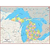 Academia Maps Michigan State Wall Map Fully Laminated Classroom Style