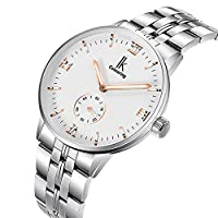 GuTe Men Automatic Watch,Elegant White Dial Automatic Stainless Steel Bracelet Men Watch (White)