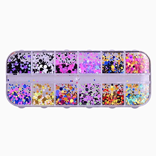 Frcolor 12 Colors Ultra-thin Sequins Nail Art Glitter Mini Sequins Paillette Colorful Round Nail Decorations