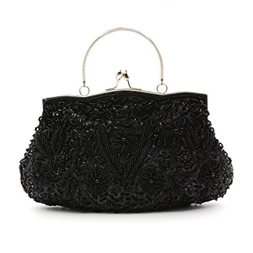 VENI MASEE Collection Antique Floral Seed/Bead / Sequin Soft Clutch Evening Bag, Exquisite Seed Bead Sequined Leaf Evening Clutch Handbag, Gift Ideas-Colors Various Black