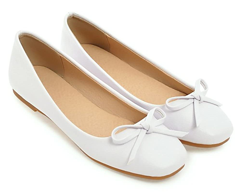 Aisun Womens Casual Square Toe Driving Cars Low Cut Ballet Slip On Flats Shoes with Bow