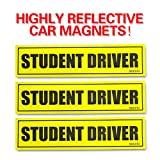 """Automotive : Set of 3 """"Please Be Patient Student Driver"""" Safety Sign Vehicle Bumper Magnet - Reflective Vehicle Car Sign Sticker Bumper for New Drivers"""