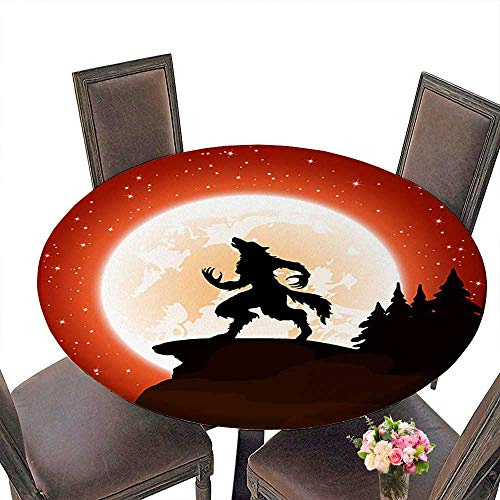 PINAFORE Round Fitted Tablecloth Halloween Night and Werewolf