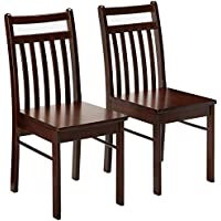 Kings Brand Oakland Espresso Wood Kitchen Dinette Dining Side Chairs, Set Of 2
