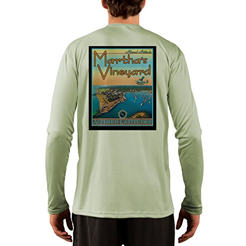 Altered Latitudes Vintage Destination Men's Marthas Vineyard UPF Performance T-shirt Large Sage