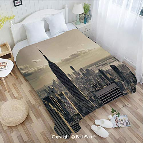 PUTIEN 3D Print Flannel Blanket Aerial View of NYC in Winter Time American Architecture Historical Popular Metropolis Photo Blanket for Home(39Wx49L)