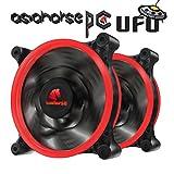 AsiahorseUFO120mmDualApertureLEDLongLifeDoubleRingSilentCaseFan,PCCustomDIYfromWaterCoolingSystemCPUCooler2PACK(RED)