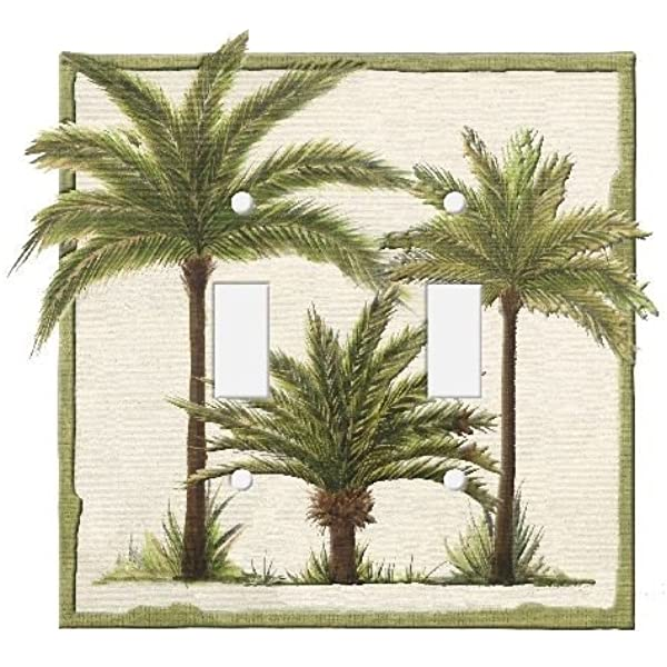 Borders Unlimited Palm Tree Double Toggle Switchplate Cover Home Decor Wall Plates Amazon Com