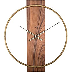 Unek Goods NeXtime Carl Wall Clock | Wood and Metal | 20 | Brown | Battery Operated