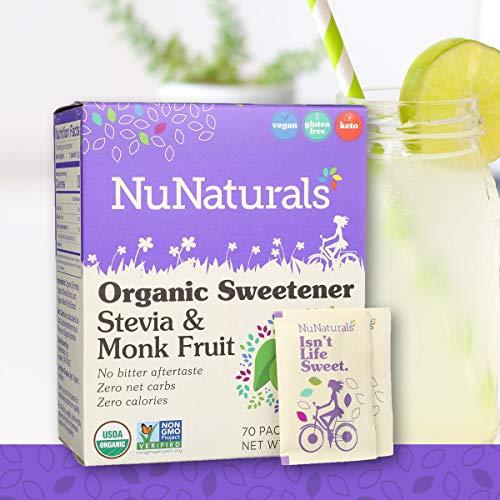 (NuNaturals Organic Sugar-Free Stevia & Monk Fruit Sweetener Packets, (70 Packets))
