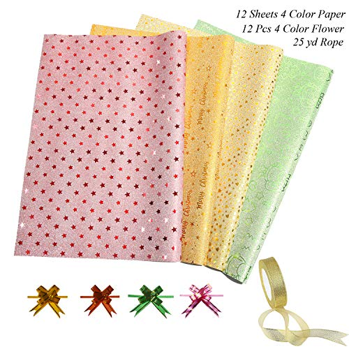 Glisten No Powder Glitter Gift Wrapping Paper Set for Christmas and Birthday-12 Roll/4 styles-27.5