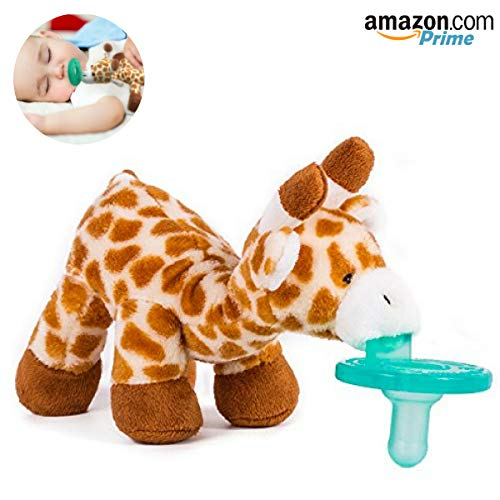Baby Pacifier with Animal Attached - Stuffed Giraffe Soothie Paci & Teether for Your Child- Teething Infant + Plush Toy - Baby Animal Pacifier for Newborns - BPA-Free, Unisex for Boys & Girls Gift