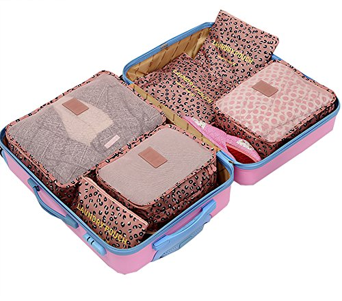 Funnuf 6 Pieces Packing Cubes Travel Luggage Organizer Storage Clothes Container Bags Shoes Pouch Set Pink Leopard Print