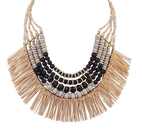 Ethnic Tribal Boho Beads Statement Necklace Fringe Bib Tassel Chunky Black