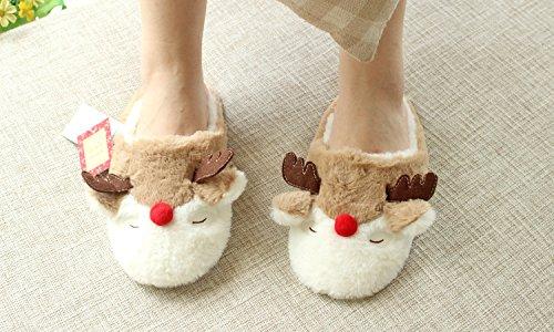 Kenmont Zapatillas de estar por casa Zapatos peluche de felpa Unicornio para adulto talla europea: 36-41 Reindeer