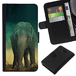 All Phone Most Case / Oferta Especial Cáscara Funda de cuero Monedero Cubierta de proteccion Caso / Wallet Case for Sony Xperia M2 // Elephant Teal Trunk Vintage Cute Retro