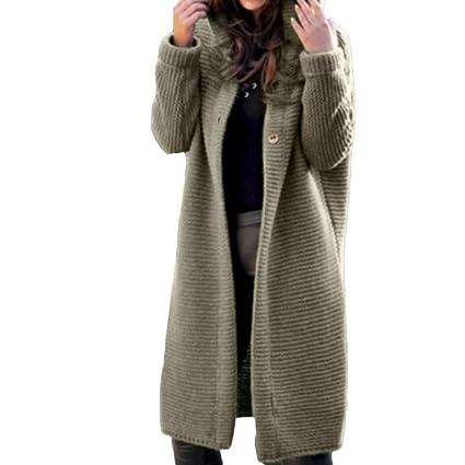 LILICAT Suéter Chaqueta de Punto con Capucha, Manga Larga de Mujer Color Puro Loose Long