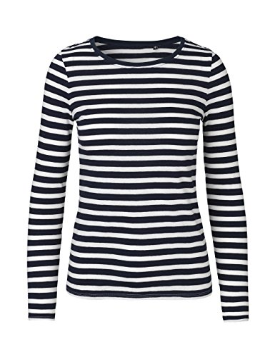 Green Cat Neutral Ladies Long Sleeve T-Shirt, 100% Organic Cotton Fairtrade Certified, Color Striped, Size 2XL