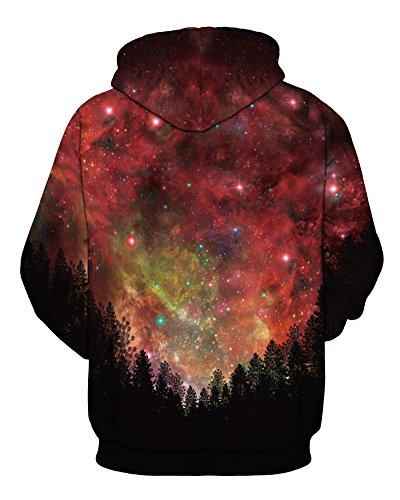 (NEWCOSPLAY Unisex Realistic 3D Digital Print Pullover Hoodie Hooded Sweatshirt (L/XL, Creative stars))