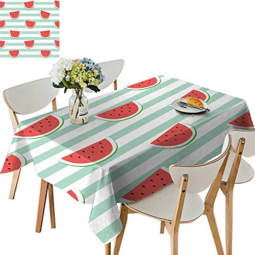 (UHOO2018 Polyester Tablecloth re Watermelon Slice Design on Stripe Blue backgroun Wallpaper Backdrop Square/Rectangle Spillproof Tablecloth,50 x)