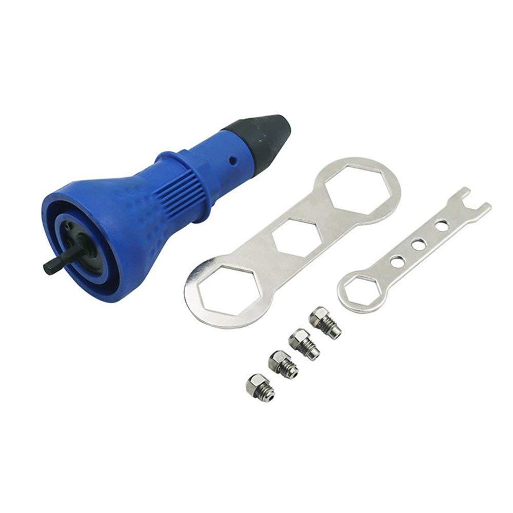 outil de rivetage pour noyau Adaptateur de perceuse /à riveter sans fil Ins/érer un /écrou-outil Alimentation pour tournevis /électrique manuel Adaptateur de perceuse /à riveter d/étachable BLue