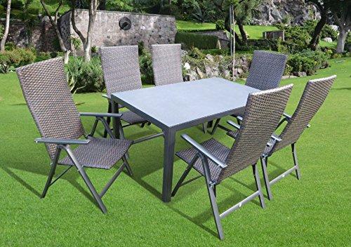 7-teilige Luxus Aluminium Polyrattan Spraystone Gartenmöbelgruppe Bukatchi #ZW in anthrazit mocca-braun Klappsessel und Spraystonetisch