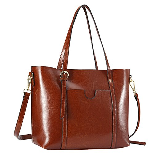 Leather Top Zip Large Tote (Women's Tote Bag, Bagerly Leather Tote Purse Top-zip Handbags Large Shoulder Bag Top Handle Satchel Handbags (Brown))