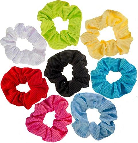 Yellow Scrunchie (8 Hair Scrunchies / Bobbles / Bands / Holders Set)