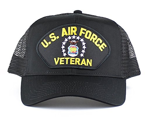OldSchoolUSA Military Air Force Veteran Large Embroidered Iron On Patch Snapback Trucker Cap (Black)