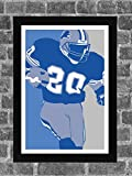 Detroit Lions Barry Sanders Portrait Sports Print Art 11x17