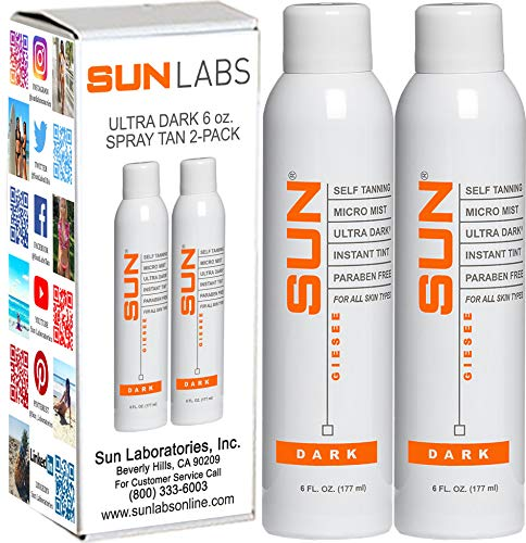 Spray Tan Organic Micro Mist Ultra Dark Pack of 2 (6 oz each) Natural Sunless Airbrush, Body and Face for Bronzing and Golden Tan - Very Dark Sunless Bronzer Flawless Fake Tanning Airbrush -