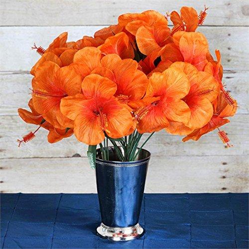 Tableclothsfactory 60 pcs Artificial Hibiscus Flowers for Wedding Arrangements - 12 Bushes - Orange