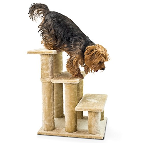 Pet Three Step Stairs (FurHaven Pet Stairs | Steady Paws 3-Step Pet Stairs, Cream)