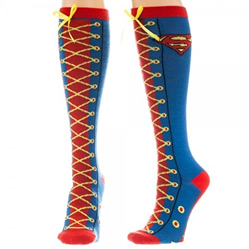 Animewild DC Comics Superman Faux Lace Up Knee High Socks ()