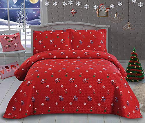 Christmas Bedding Santa Claus Quilt Set 3Pcs Reversible Bedspread lightweight Quilt Cartoon Christmas Coverlet New Year Gift Decor Christmas Quilt Queen Size 90